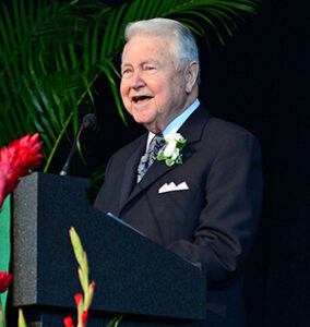 George Bauer, BSIE '53, MSIE '59, a dedicated Washington University alumnus and chairman and CEO of GPB Group, Ltd
