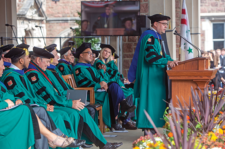 Chancellor Andrew D. Martin delivers his inauguration address in which he announced, among other commitments, the WashU Pledge, a bold new financial aid program for regional students.
