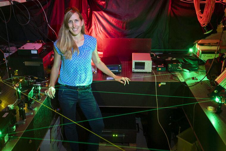 Jennifer Dionne in her lab