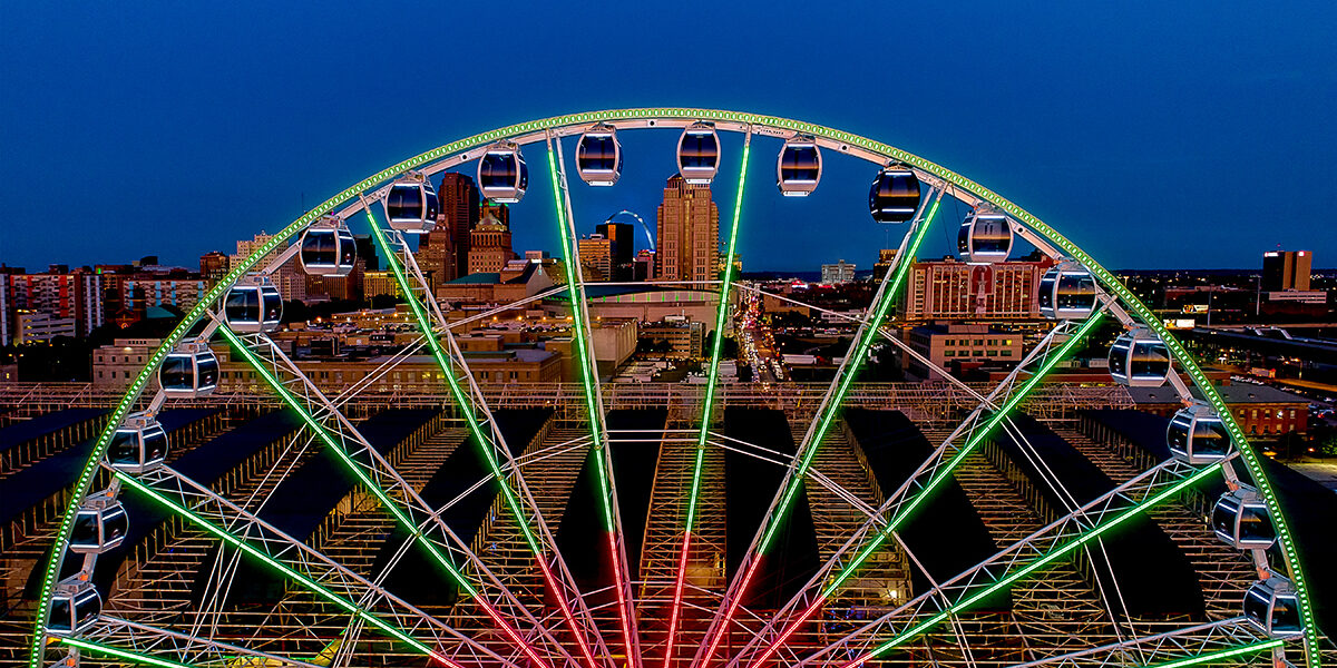 The St. Louis Wheel includes 1,600 LED lights, and Union Station turned the wheel green and red for Christmas. (Courtesy of St. Louis Union Station)