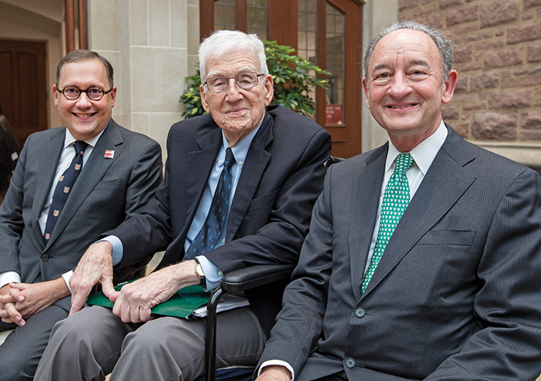 Inauguration day was filled with many special moments, including the bringing together of the 13th, 14th and 15th chancellors of Washington University: (from left) Andrew D. Martin (15), William H. Danforth (13), Mark S. Wrighton (14). (Photo: Joe Angeles/Washington University)