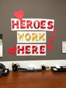 Heros Work Here mural