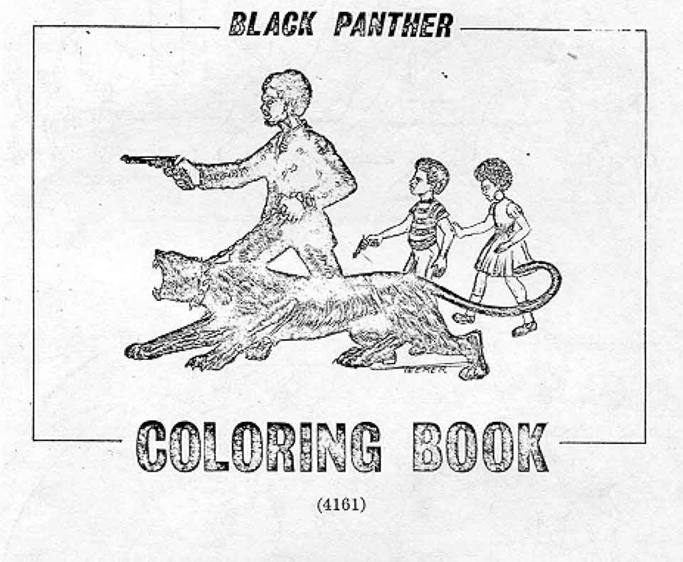 """The cover shows a man and children with guns next to a panther, with text that reads, """"Black Panther coloring book"""""""