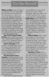 Alumna Kiani Arkus Gardner is recognized in The Record