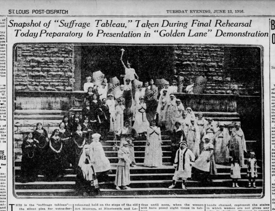 """Suffrage Tableau,"" St. Louis Post-Dispatch, Tuesday, June 13, 1916"