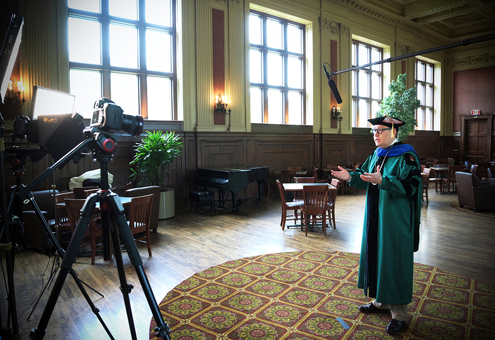 On May 15, Chancellor Andrew Martin delivered his Commencement address to graduates of the Class of 2020 by video in Holmes Lounge. Martin says canceling in-person graduation was one of the hardest decisions he had to make in spring 2020. (Photo: James Byard/Washington University)