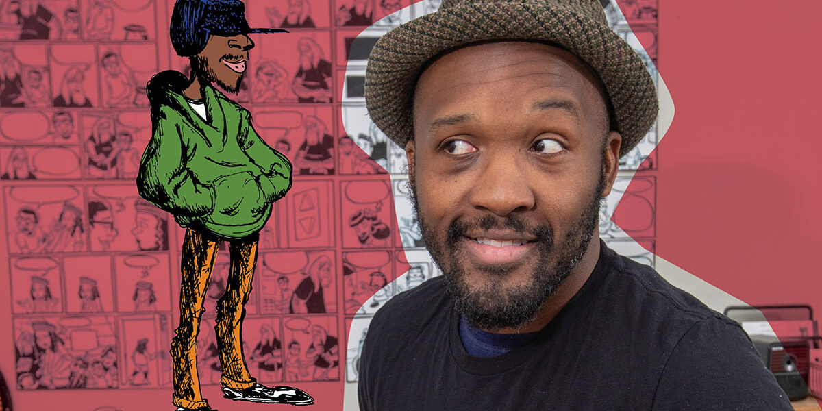 Comic book artist Dmitri Jackson with an illustration