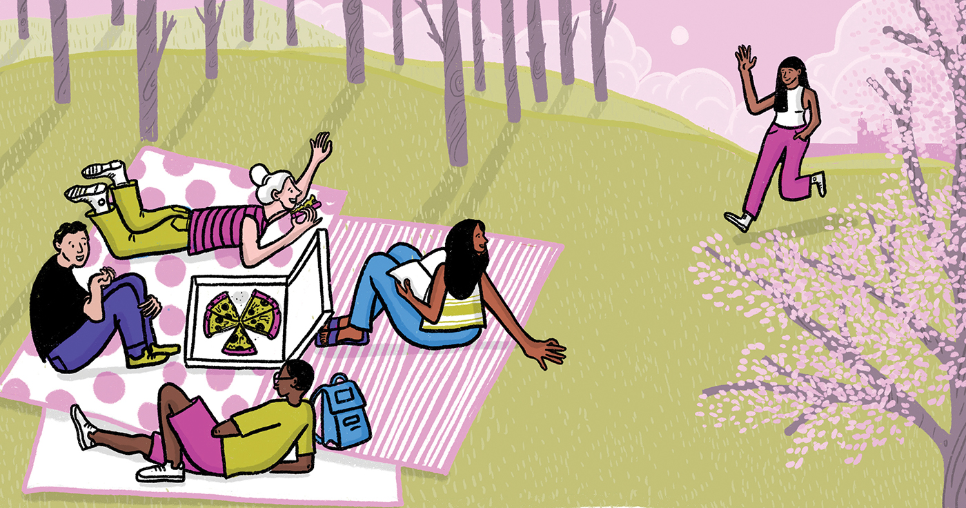 All the rituals will return; the campus will again be crisscrossed with laughing, waving humans who can throw their arms around a friend's shoulder or lean close to confide a secret. In the immediate future, though, coping will mean redoubled caution, as life begins to normalize but is not yet entirely safe. (Illustration: Vidhya Nagarajan, BFA '10)