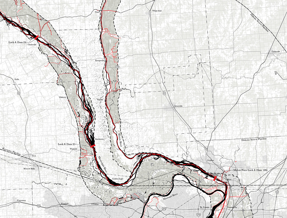 Above: For more than a decade, Derek Hoeferlin has studied the Mekong, Mississippi (above) and Rhine river basins, with a particular focus on multi-scaled, water-based infrastructural transformation. The three basins — detailed in Hoeferlin's upcoming book Way Beyond Bigness: The Need for Watershed Architecture — reflect three different hydrological scales in three different states of management and development. (Courtesy photo)