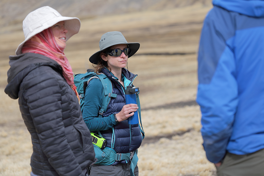 Bronwen Konecky, assistant professor of Earth and planetary sciences, and Sarah Baitzel, assistant professor of anthropology, both in Arts & Sciences, are collaborating on reconstructing past climate and cultural shifts in the Peruvian Andes. (Photo: Tom Malkowicz)