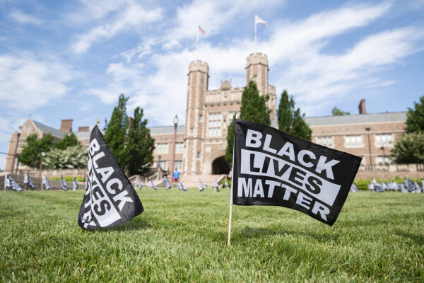 Black Lives Matter flags planted on Brookings Halllawn