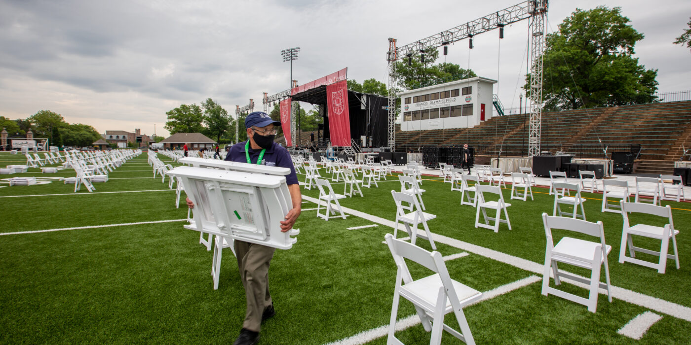 Historic Francis Olympic Field is being set up to host the university's 160th Commencement ceremonies.