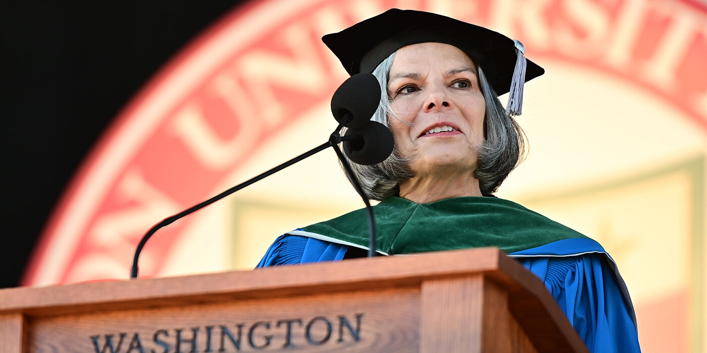 Julie L. Gerberding, MD, addresses the Class of 2020 at the 159th Commencement May 30.