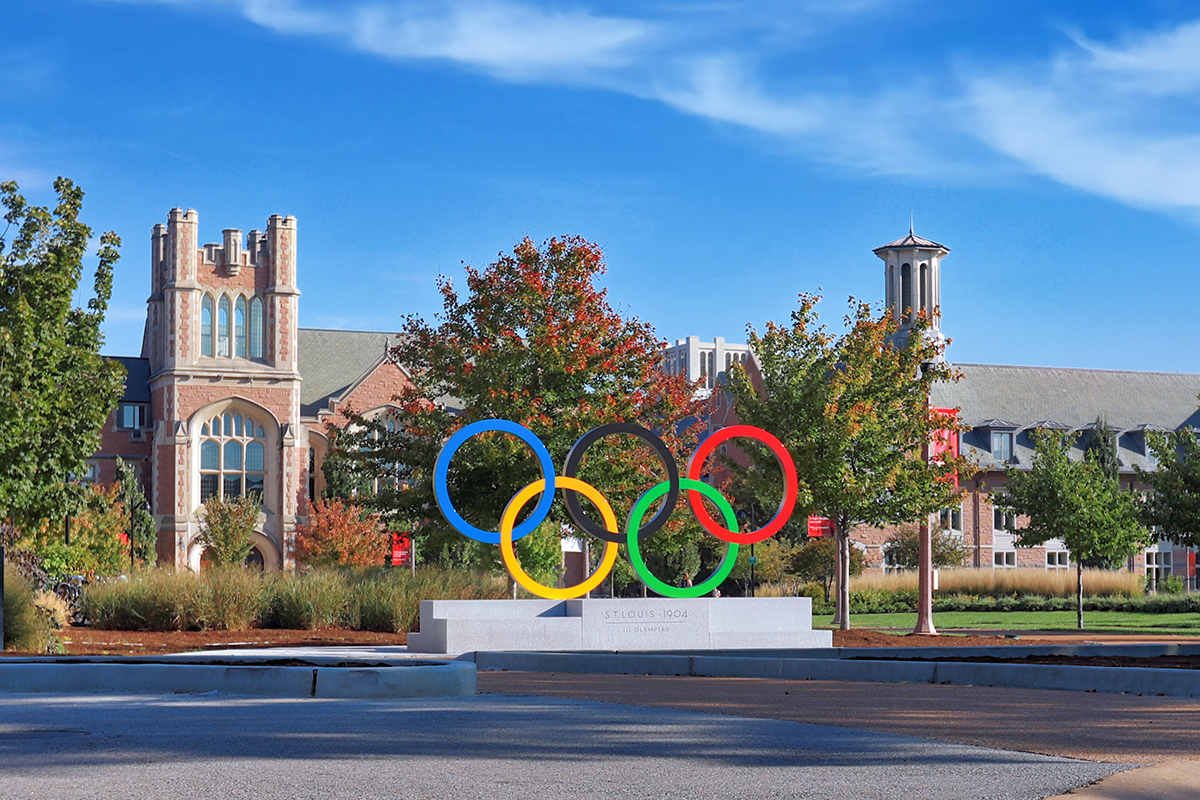 Olympic rings on campus