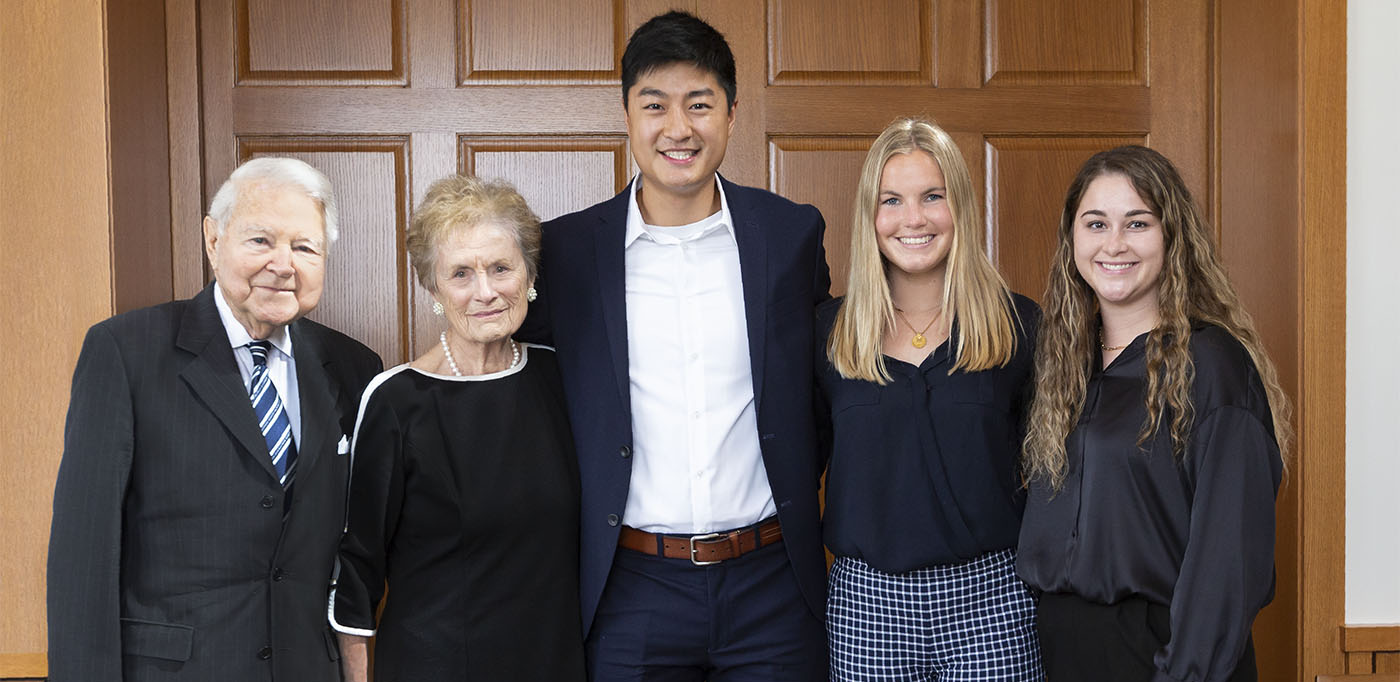 George and Carol Bauer established the George and Carol Bauer Leaders Academy for the Danforth Scholars Program to help scholars, such as (from center, right) Jimmy Rao, Elise DeConinck and Mackenzie Liening, clarify their values as they prepare for careers.