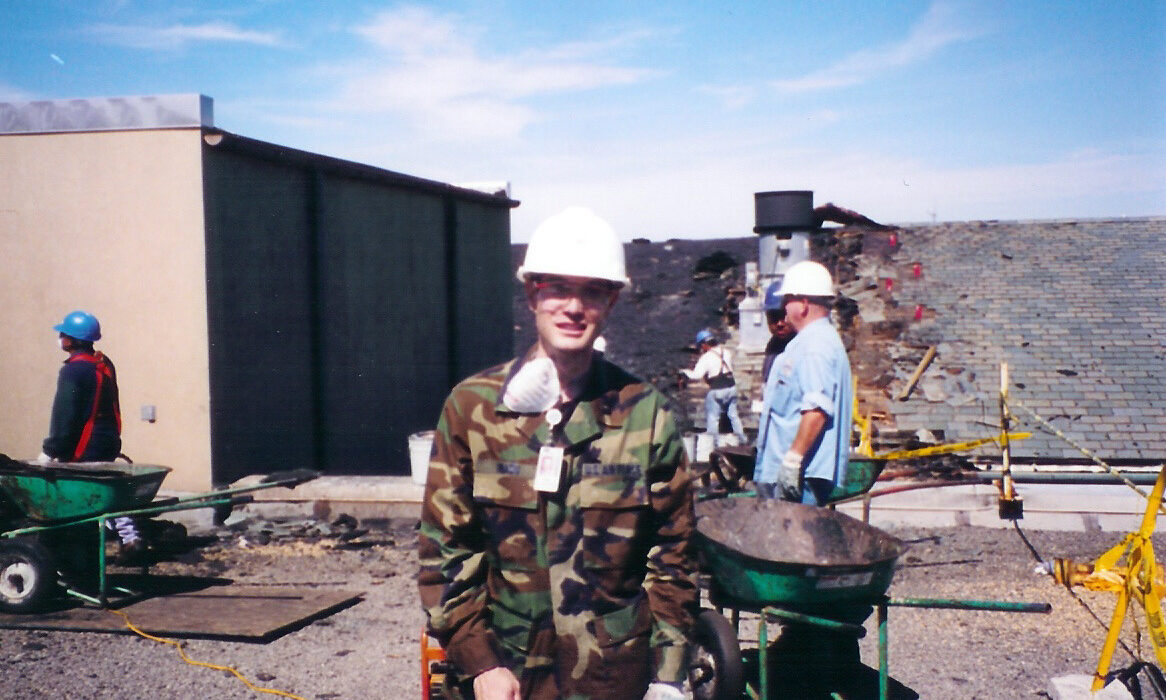 John Inazu on roof of the Pentagon building days after the 9/11 attack.