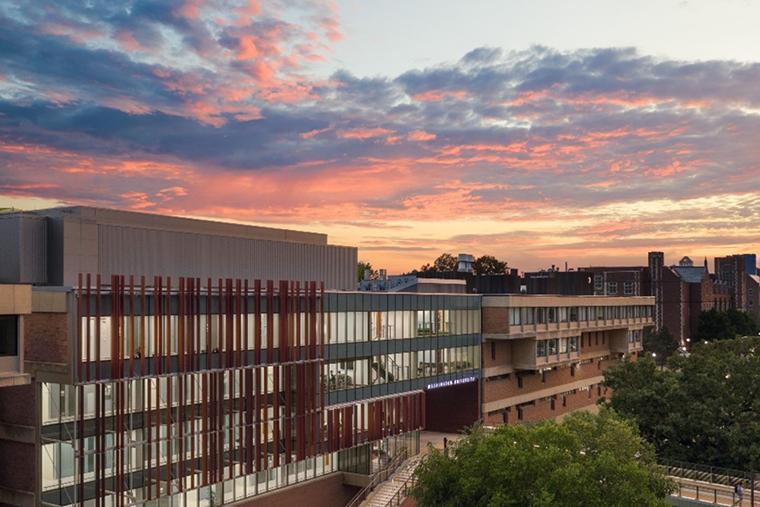 Sunset over Danforth Campus Oct. 2021.