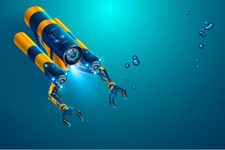 Rendering of an underwater drone